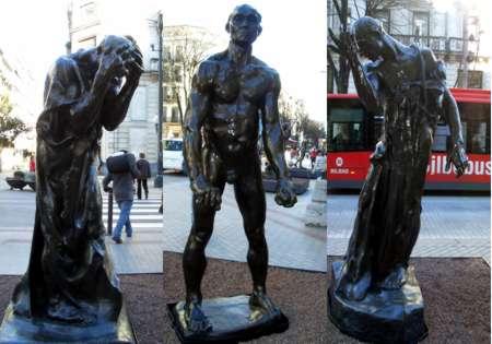 """Tres de las esculturas de """"Los Burgueses de Calais"""". Foto: Javier Bustamante"""