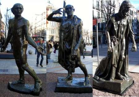 """Las otras tres esculturas de """"Los Burgueses de Calais"""". Foto: Javier Bustamante"""